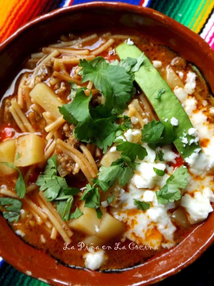 Sopa De Fideo Con Carne Y Papa Beef And Pasta Soup La Pi 241 A En La Cocina