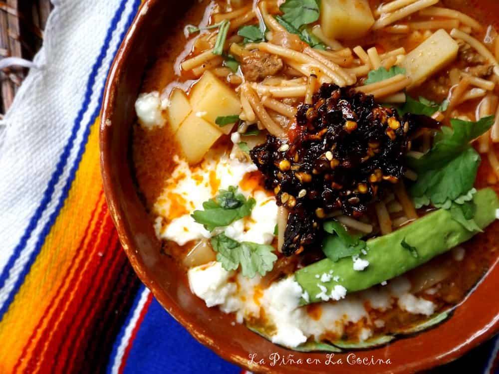 Sopa de Fideo con Carne (beef and pasta soup) #sopadefideo