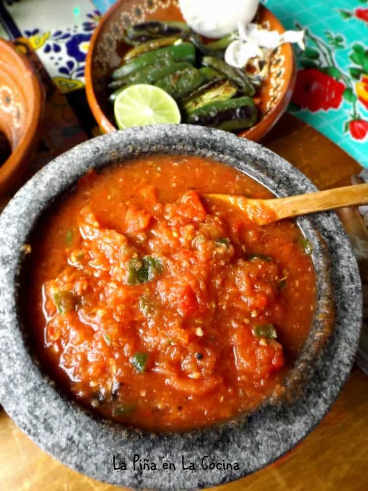 Tomato Serrano Salsa Prepared In My Molcajete #salsamolcajeteada #salsarecipes