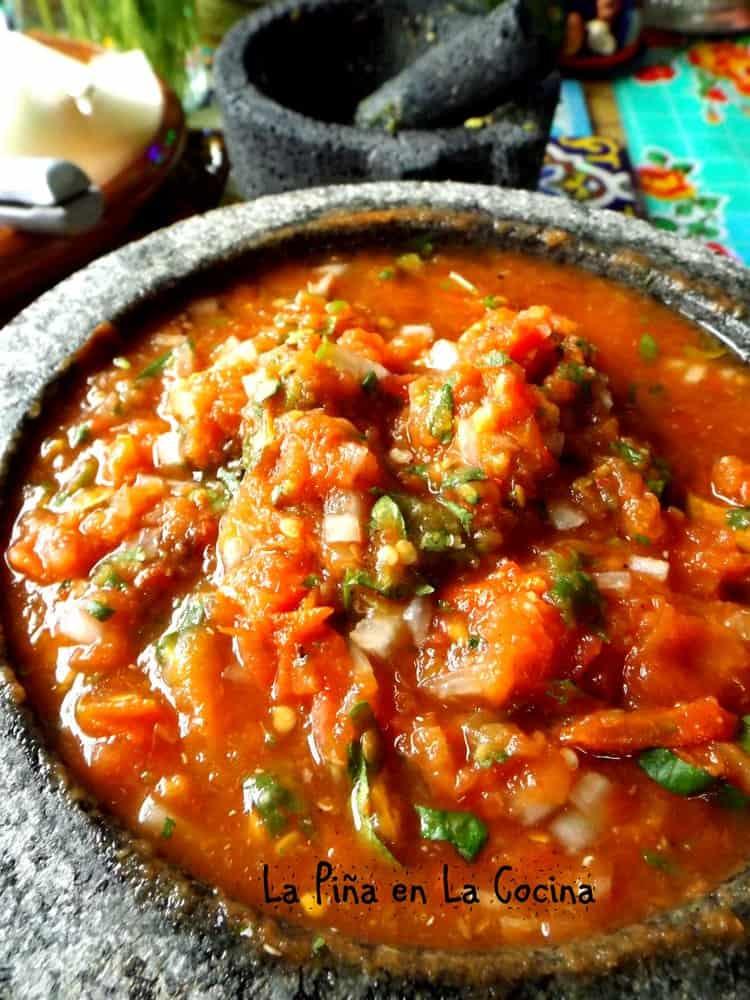 Tomato Serrano Molcajet Salsa #molcajetesalsa #salsarecipes