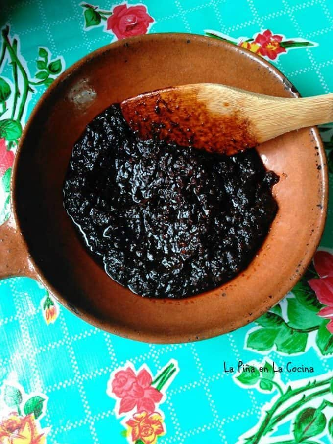 salsa negra after it has been fried in the oil and cooked until thick