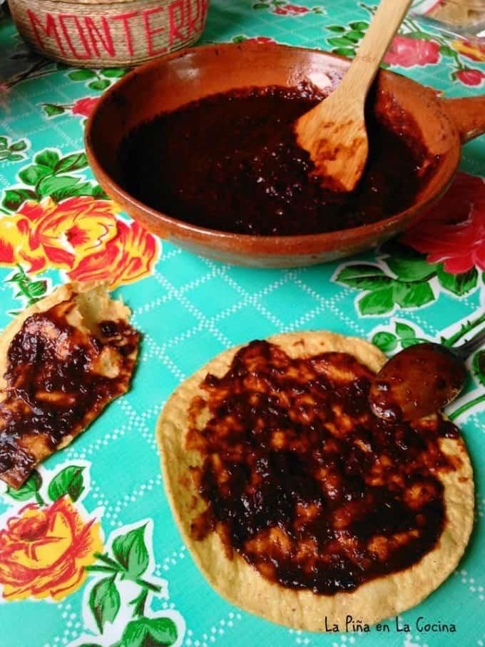 salsa negra on a tostada