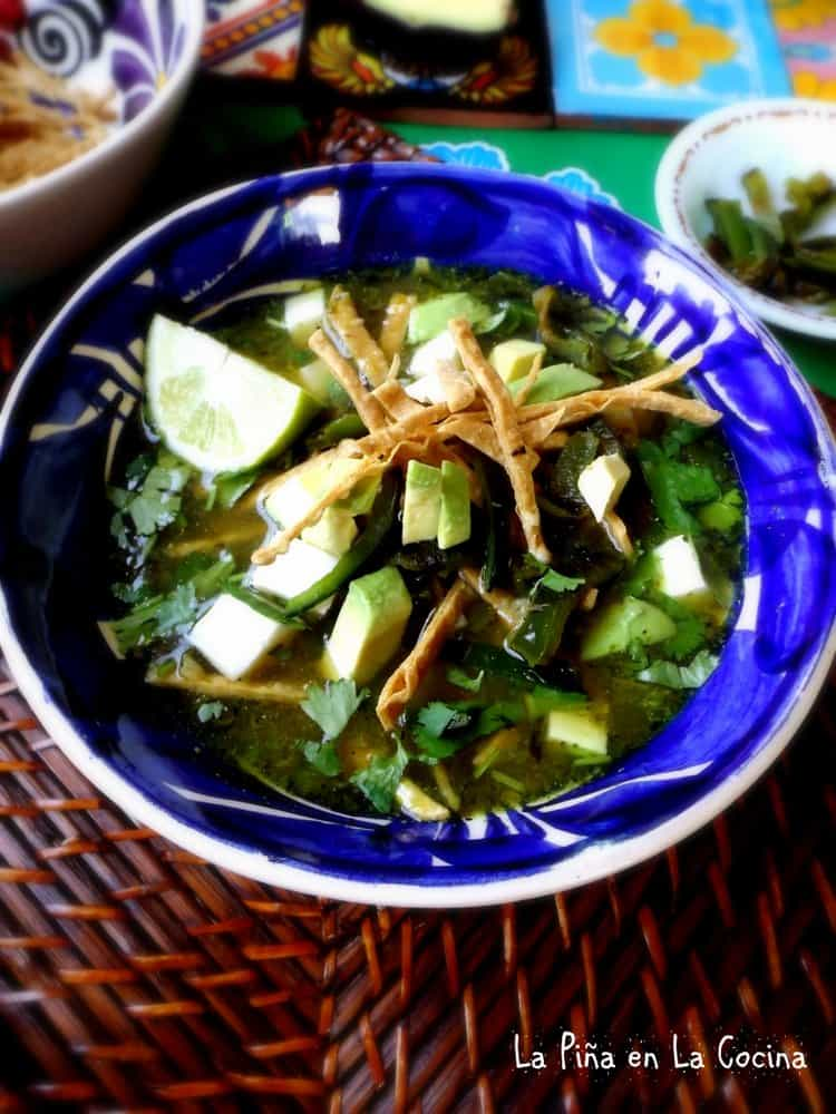 Poblano Tortilla Soup in big bowl close up