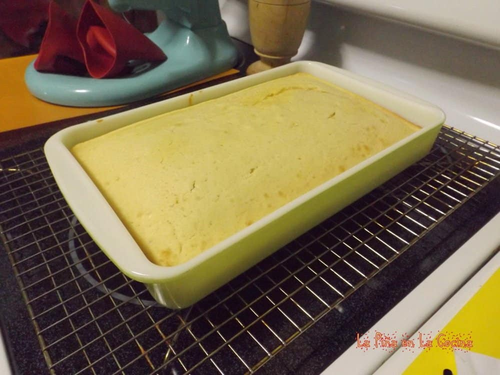 Cake just out of the oven cooling on rack