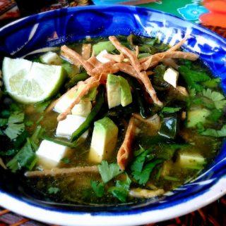 Poblano Tortilla Soup-Sopa de Tortilla Verde