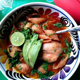 Sopa de Conchas Con Pollo-Chicken and Shells