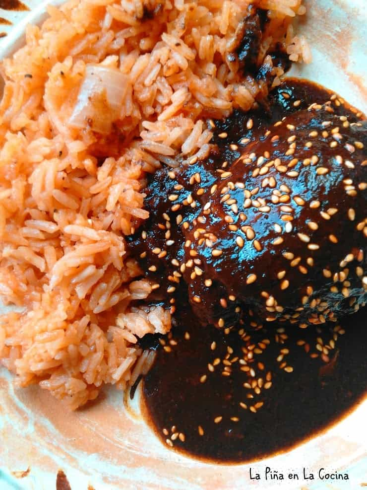 Mole with rice on the plate