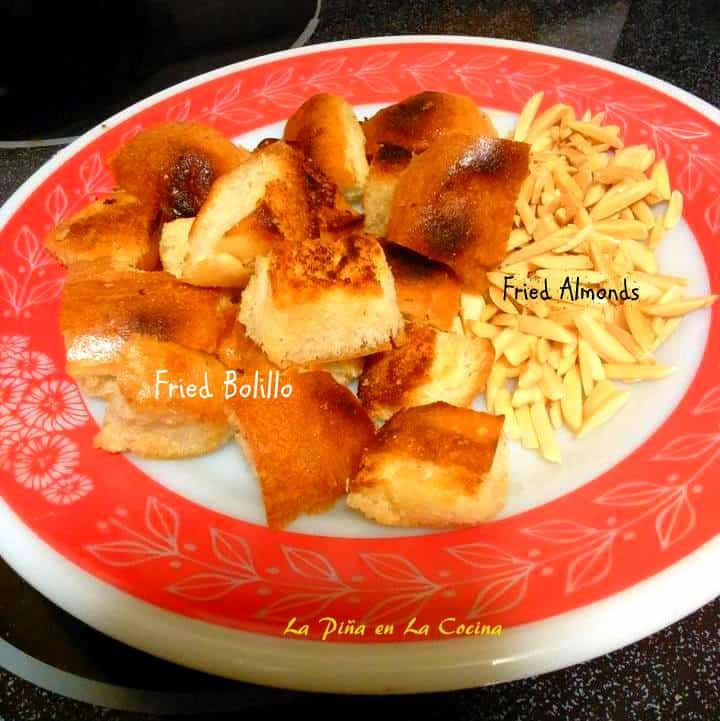 Fried bread and almonds