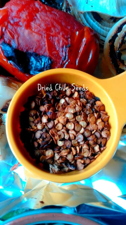 Seeds from dried chiles before frying tem