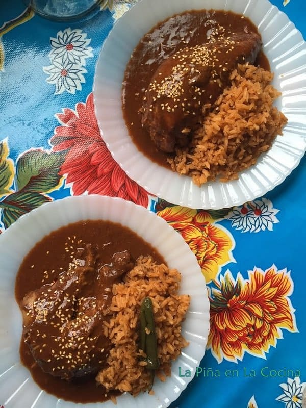 Mole with rice served  for two people
