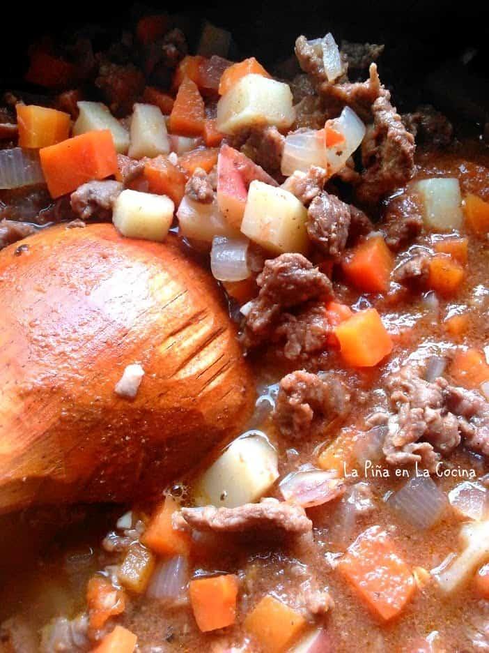 Carne PicadaCon Verduras close up with wooden spoon