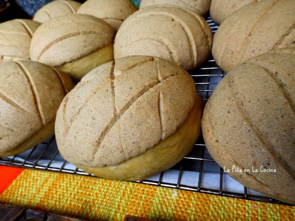 Pumpkin Bread Conchas on cooling rack
