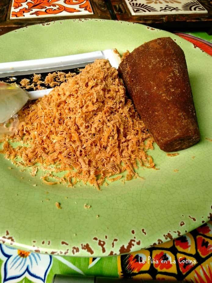 Grated piloncillo sugar cone