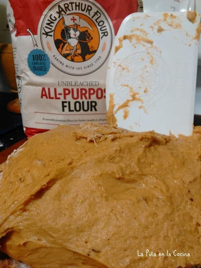 Dough with scraper