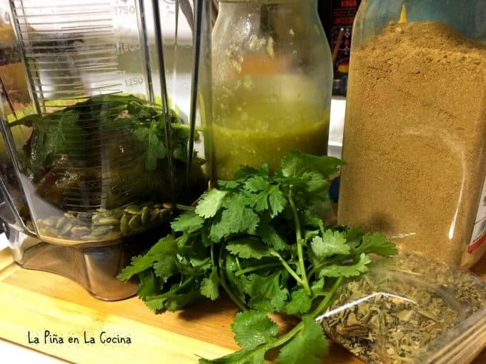 Ingredients for green chile sauce for pozole