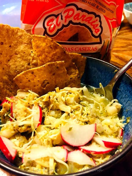 Green Chile Chicken Pozole with tostadas