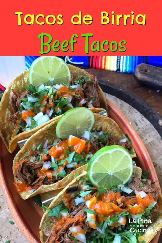 Pinterest image of birria tacos
