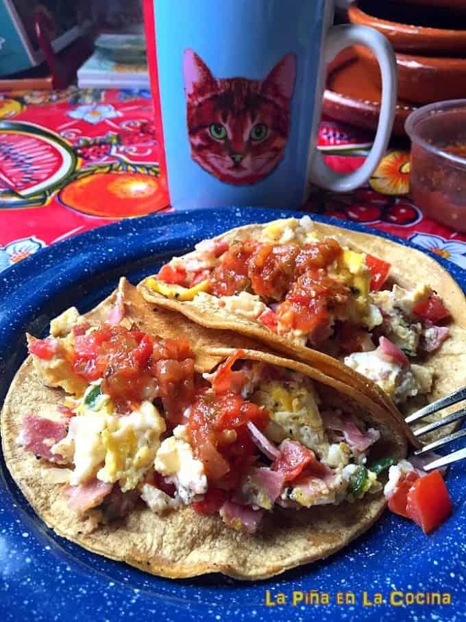 Potato and egg scramble tacos