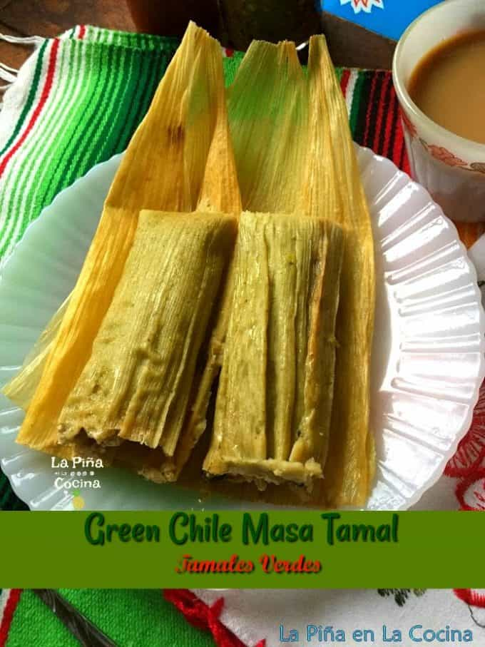 Green chile tamales plated, Pinterest image