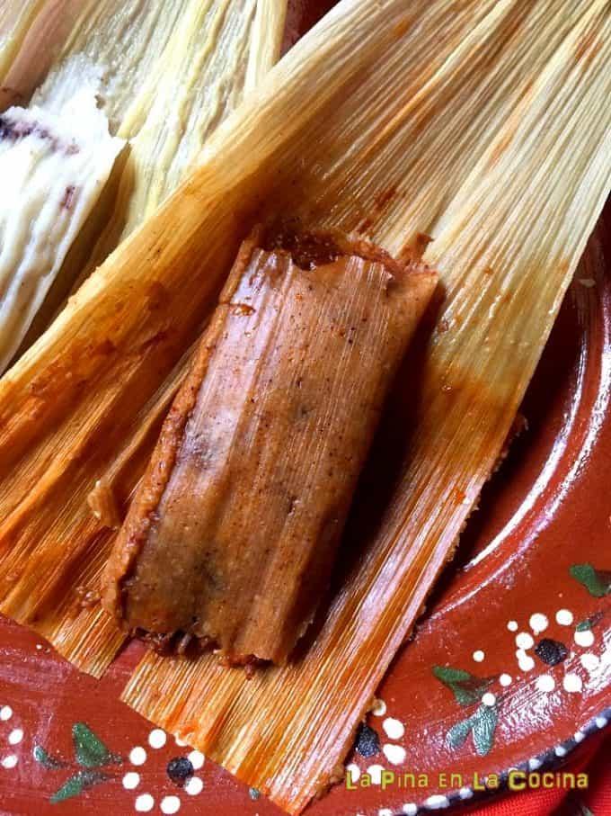 Chile colorado pork tamal