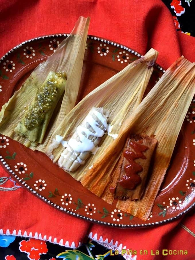 Three Different Tamales to show the masa variations