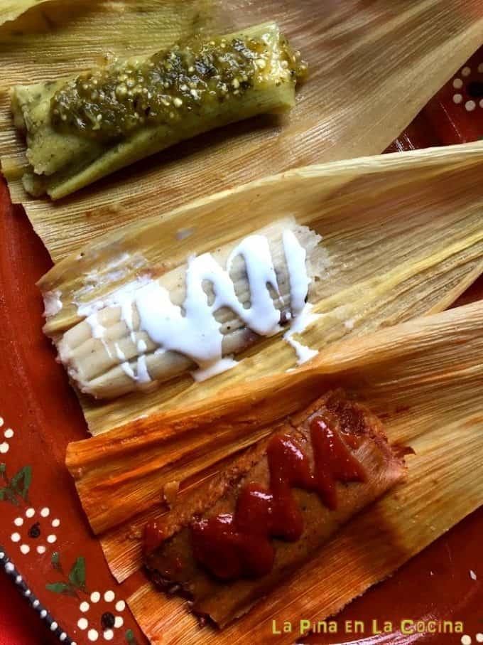 Three variations of tamales