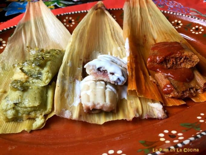 The three variations of tamales