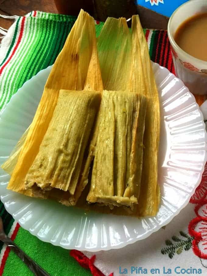 Green chile masa tamal plated