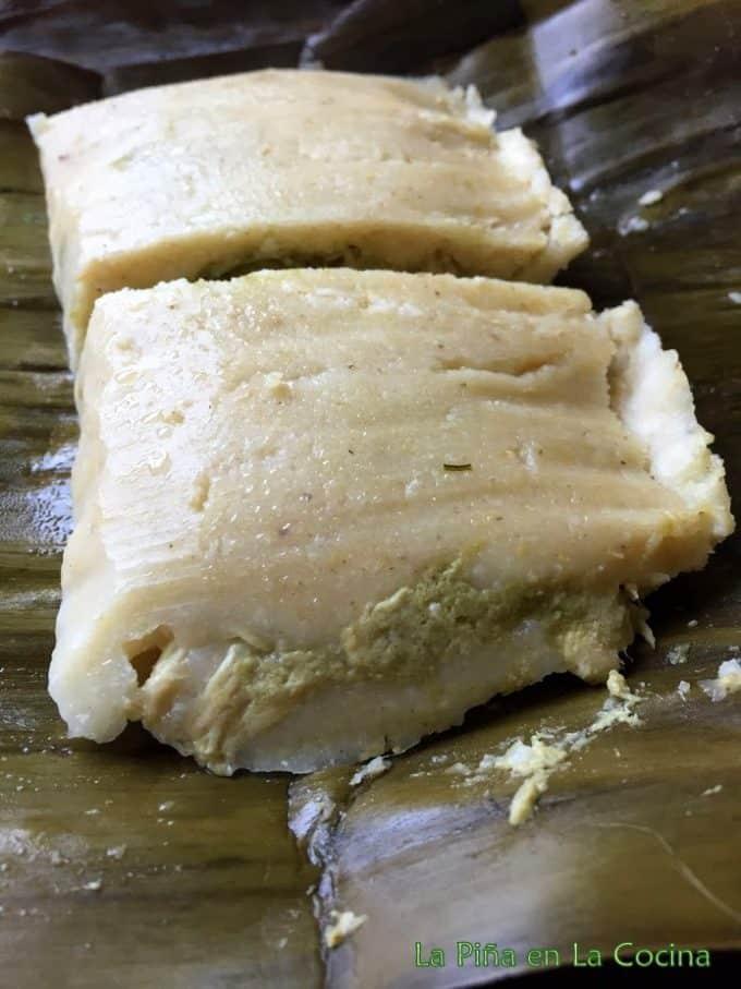 One big chicken tamal prepared with basic masa