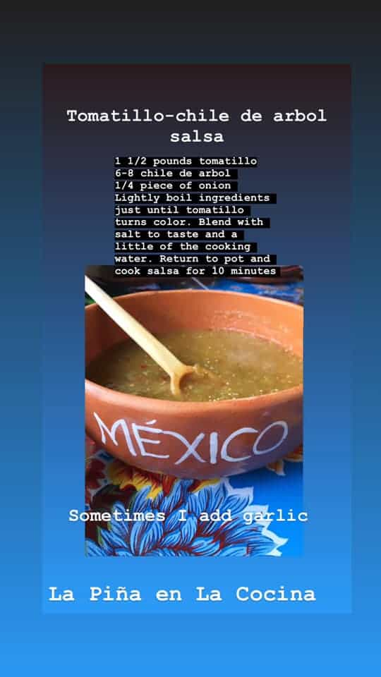 Recipe Cards- Tomatillo Chile de Arbol Salsa