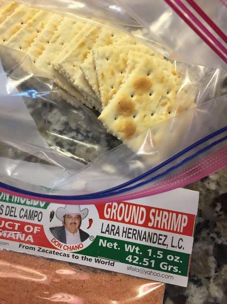 Tortitas De Camaron Seco-Dried Shrimp Cakes. Shrimp Powder and Saltine Crackers