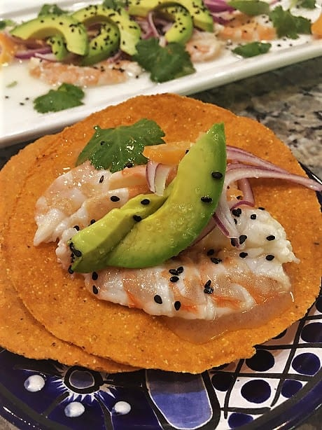 Coconut Habanero Shrimp Aguachiles on Tostadas