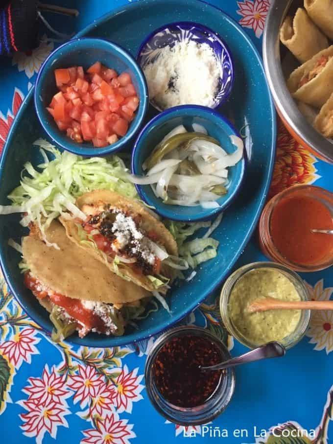 Crispy Chicken Tacos-Pollo a La Mexicana