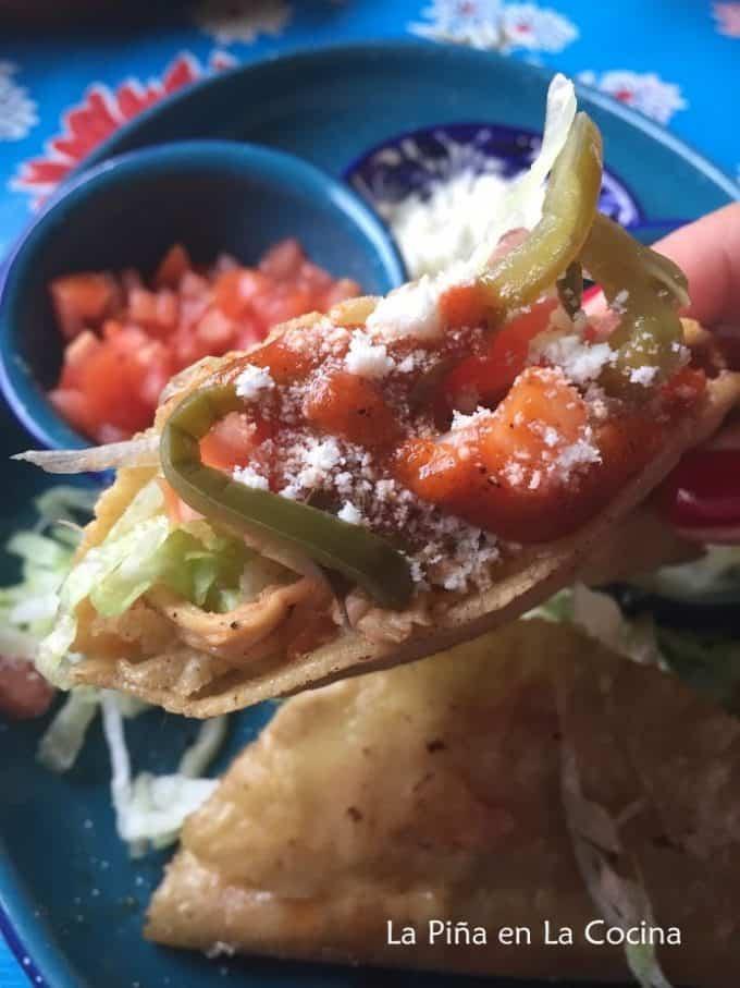 Crispy Chicken Tacos- Pollo a La Mexicana