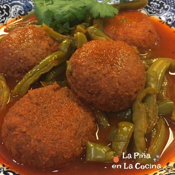 Tortitas de Camaron Seco- Dried Shrimp Cakes with Cactus in Salsa Plated.