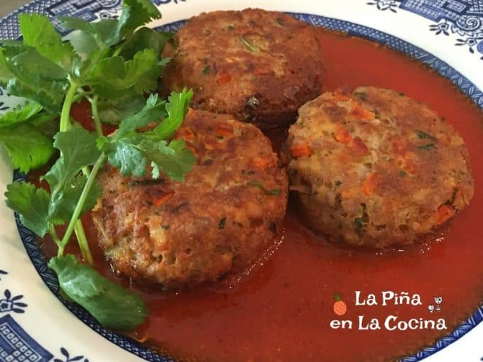 Tuna Cakes Plated With Red Chile Sauce