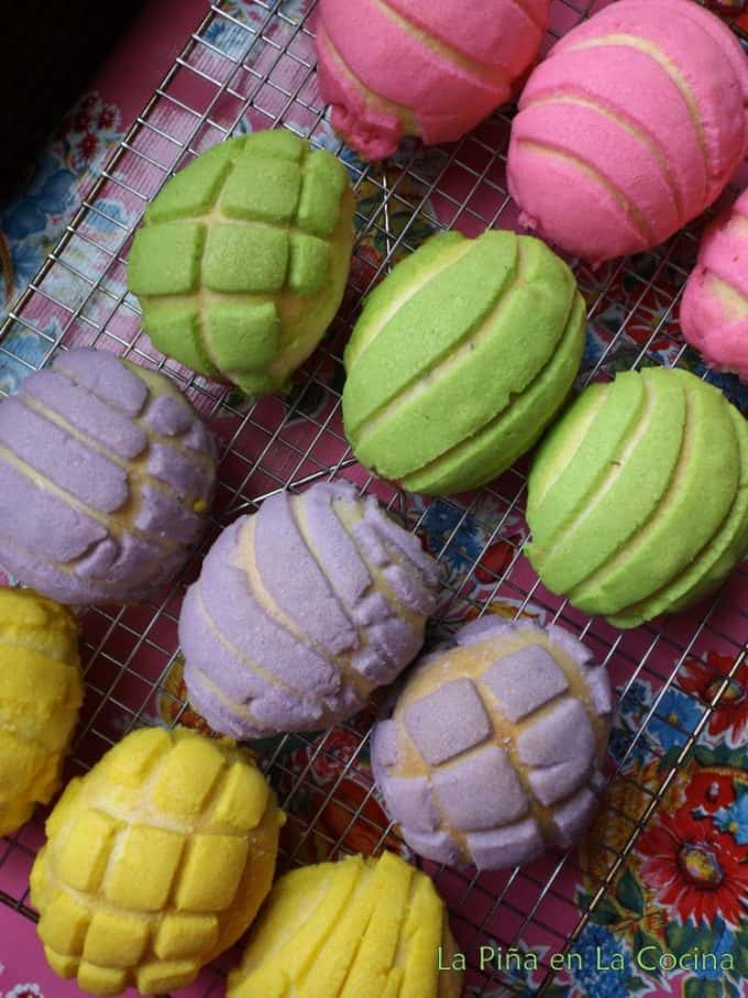 Conchas-Mexican Pan de Dulce in  bright neon colors for easter, egg shaped