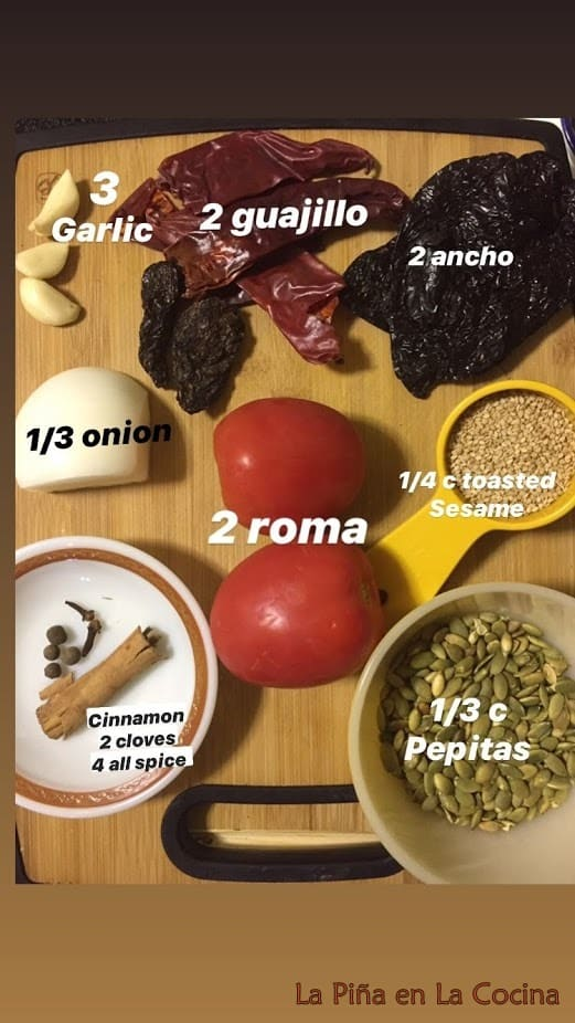 Ingredients for red pipian sauce on a cutting board