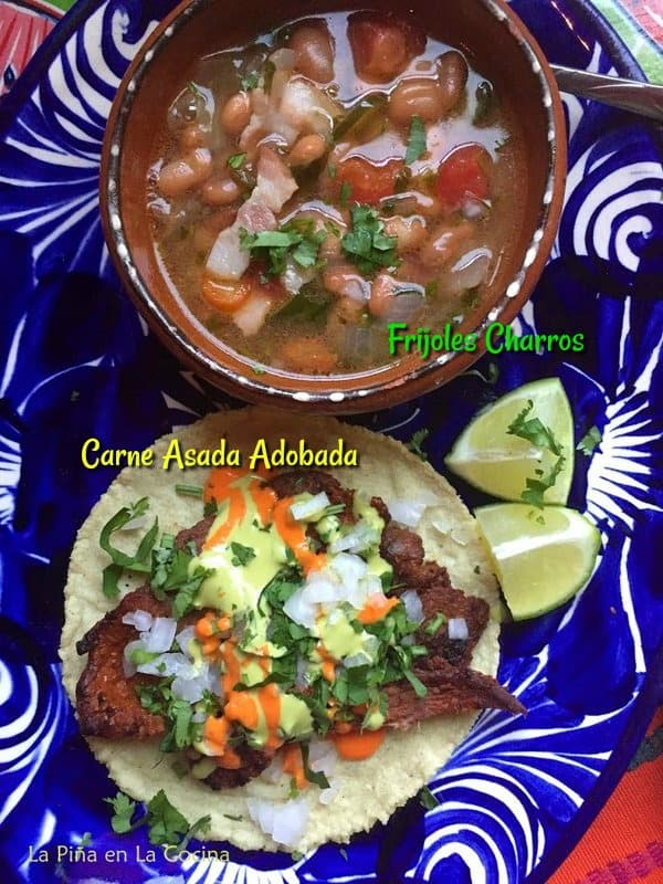 Pinterest image of carne asada adobada and charro beans