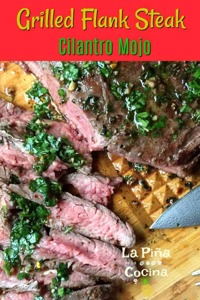 Grilled Flank Steak Pinterest Image with header