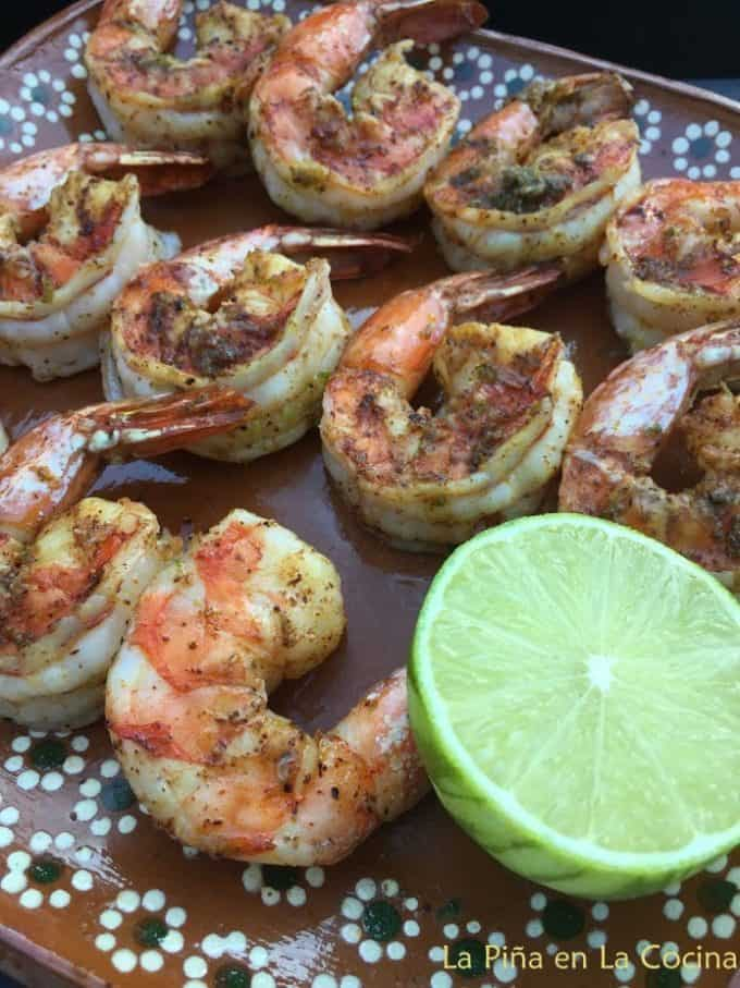 Grilled Shrimp Plated with lime half