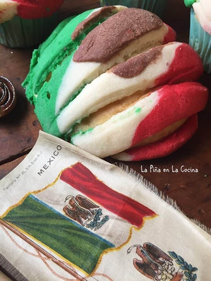 Conchas-Mexican Pan de Dulce with green, white and red topping to resemble Mexican flag