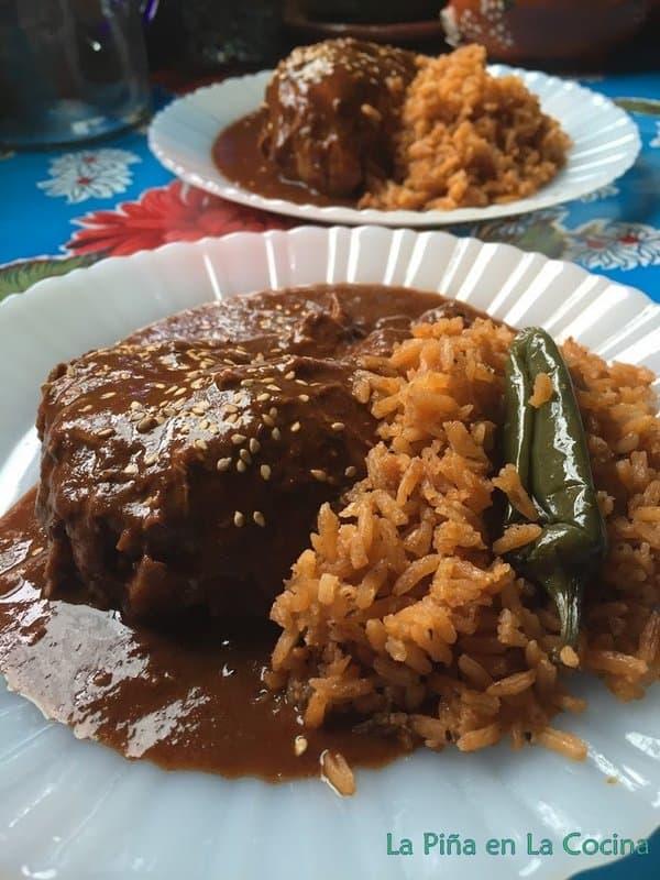 Mole with rice close