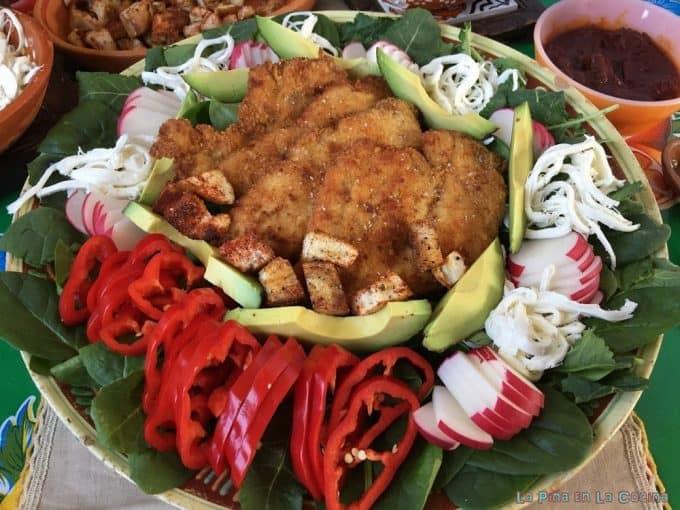 Chicken Milanesa Salad on a Platter