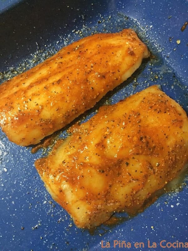 Pacific cod seasoned with salt and pepper, then basted with chile sauce