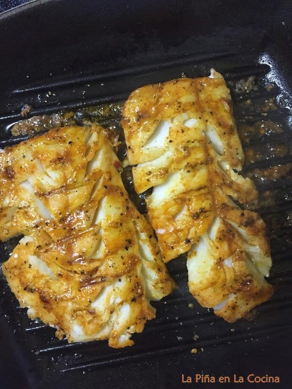 Stove top grilled pacific cod on cast iron grill pan