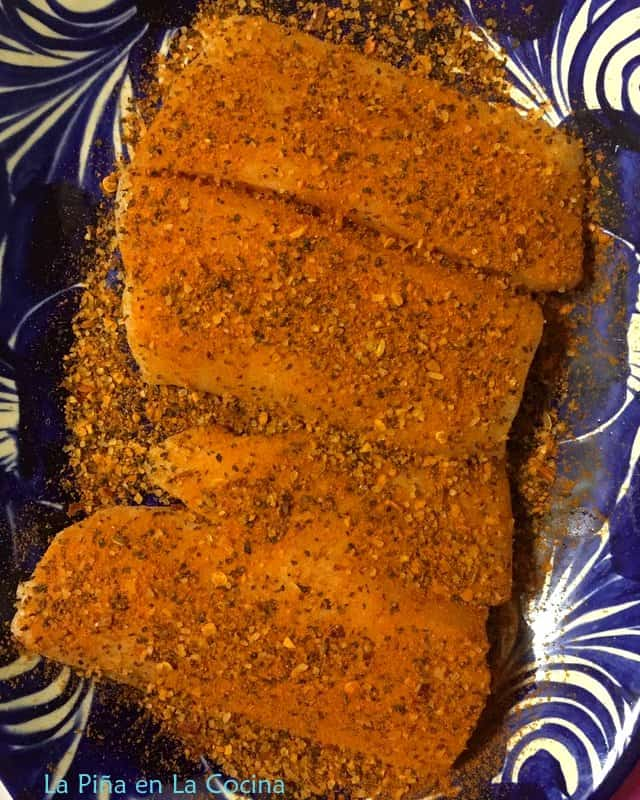 Sablefish seasoned with dry rub on a plate