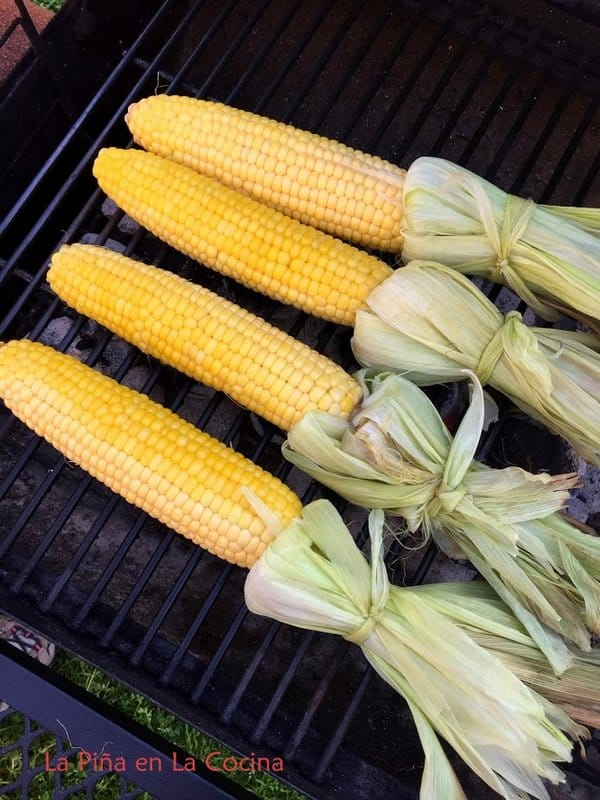 Corn After it cooked on the indirect side of the grill with husk peeled back and tied