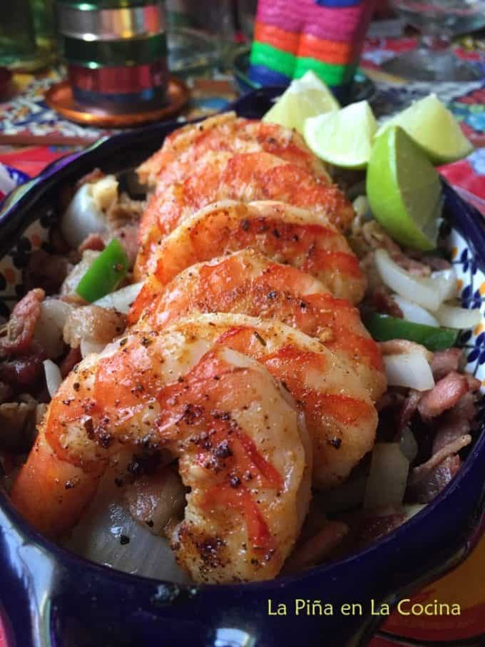 Grilled Shrimp with bacon, peppers and onion