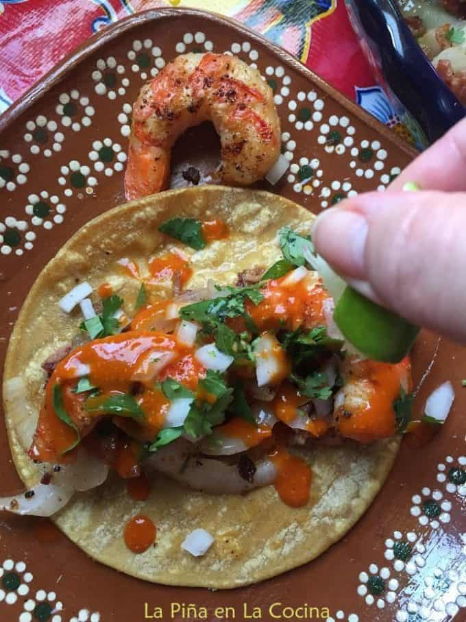 Shrimp Tacos with a squeeze of fresh lime